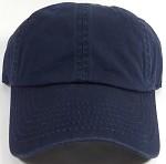 Washed 100% Cotton Blank Baseball Cap - New Strapback / Buckle - Navy