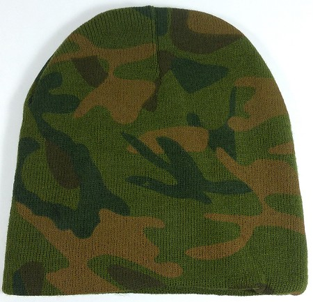 Wholesale Winter Short Beanies Hats - Camouflage