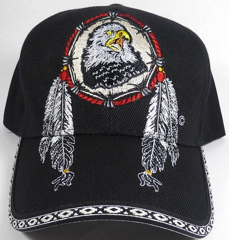 Native Pride Baseball Caps Wholesale - Eagle Dreamcatcher - Black