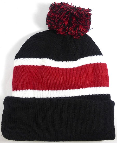 Beanies Wholesale | Pom Pom Beanies Trendy Winter Hats - Black and Burgundy