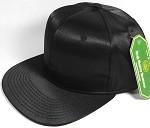 Crown Hat Original - Wholesale Faux Smooth Silk Blank Solid Snapback Caps - Black