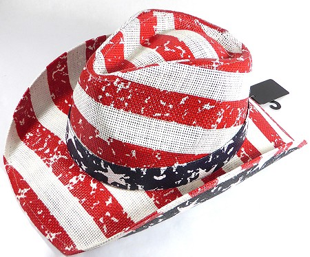 Cowboy Hat Wholesale - American Red and White Stripes - Straw