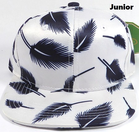KIDS Jr. Plain Snap back Hats Wholesale - Feather - Solid White