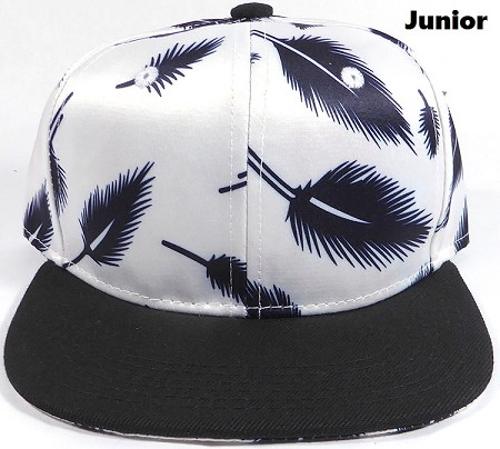 KIDS Jr. Plain Snap back Hats Wholesale - Feather - White (Black Brim)