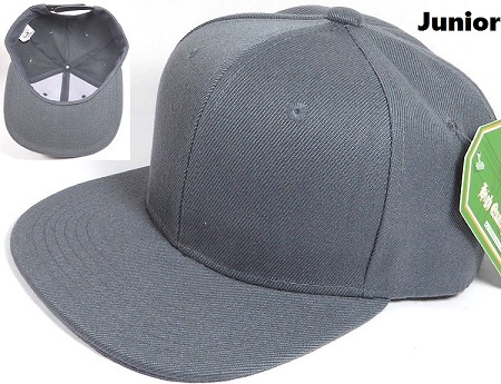 KIDS Jr. Plain Snap back Hats Wholesale - Solid - Dark Gray