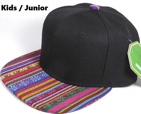 KIDS Jr. Plain Snap back Hats Wholesale - Aztec MultiColor Stripes -Black Crown