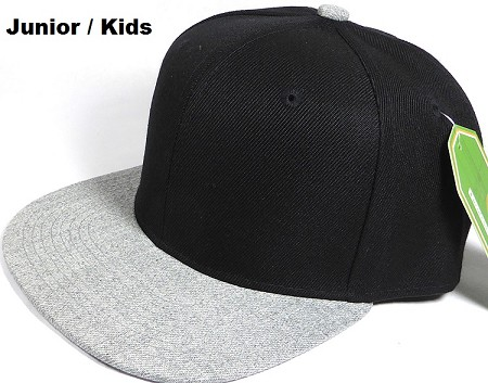 KIDS JUNIOR Bulk Blank Snapback Cap - Denim Light Grey Indigo - Two Tone Black Crown