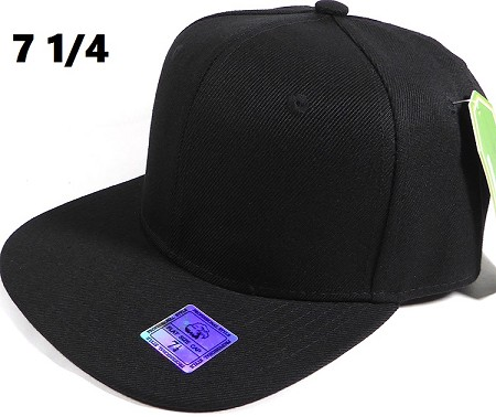 Fitted Size Caps - Wholesale Plain Hat - 7 1/4 - Black