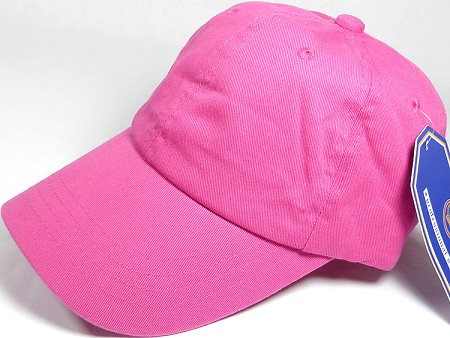 Washed 100% Cotton Plain Baseball Cap - Gold Metal Buckle - Hot Pink