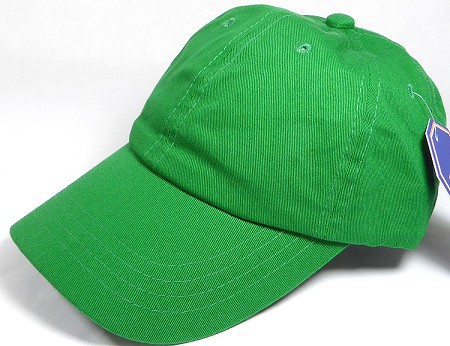Washed 100% Cotton Plain Baseball Cap - Gold Metal Buckle - Kelly Green