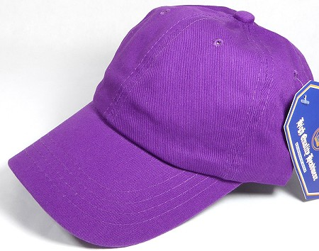 Washed 100% Cotton Plain Baseball Cap - Gold Metal Buckle - Purple