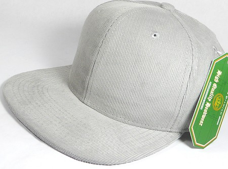 Wholesale Corduroy Blank Snapback Caps - Solid - Light Gray
