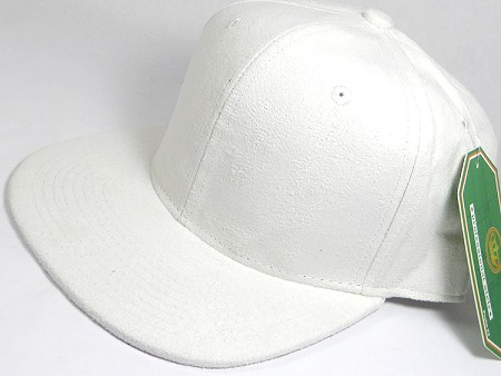 Wholesale Suede Blank Snapback Caps - White - Solid