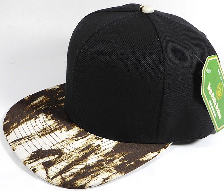Wholesale Blank Art Pattern Snapbacks Hats - Wet Paint | Black Crown - Brown Tone