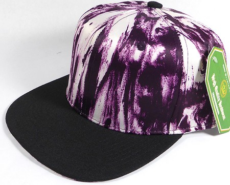 Wholesale Blank Art Pattern Snapbacks Hats - Wet Paint | Black Brim - Purple Tone
