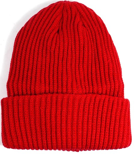 Wholesale Winter Knit Long Cuff Beanie Hats - Solid Red (Restock)