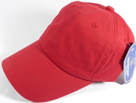 Washed 100% Cotton Plain Baseball Cap - Gold Metal Buckle - Red