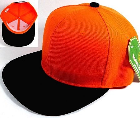 Wholesale Blank Snapback Hats Caps - Orange | Black