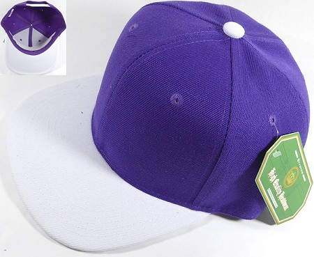 Blank Snapback Hats & Caps Wholesale - Purple | White Brim