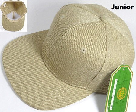 KIDS Jr. Plain Snap back Hats Wholesale - Solid - Khaki