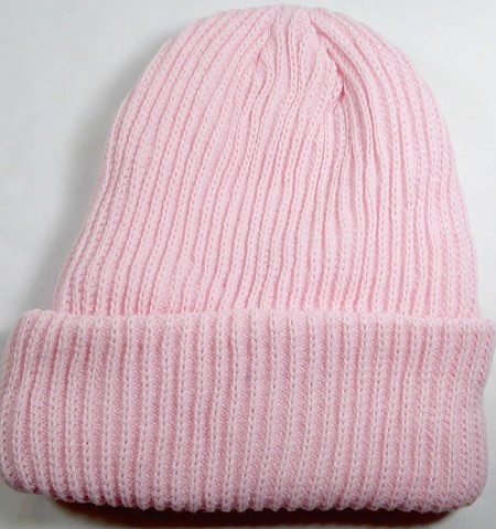 Wholesale Winter Knit Long Cuff Beanie Hats - Solid Light Pink