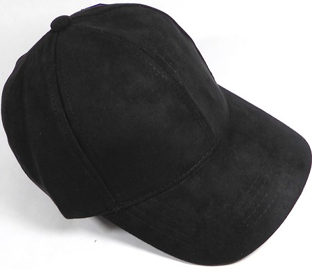 Suede Dad Hats Wholesale Blank Baseball Caps - Slider Buckle - Black