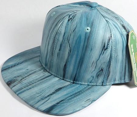 Colored Woodprint Solid Blank Snapback Hats Wholesale - Turquoise