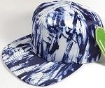 Wholesale Blank Art Pattern Snapback Caps - Solid Wet Paint - Navy Blue