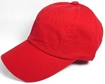 Washe d 100% Cotton Blank Baseball Caps - New Strapback / Buckle - Red