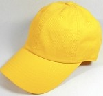 Washed 100% Cotton Blank Baseball Caps - New Strapback / Buckle - Yellow