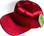 Crown Hat Original - Wholesale Faux Smooth Silk Blank Solid Snapback Caps - Burgundy