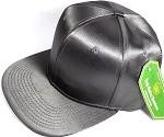 Crown Hat Original - Wholesale Faux Smooth Silk Blank Solid Snapback Caps - Dark Gray