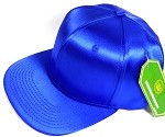 Crown Hat Original - Wholesale Faux Smooth Silk Blank Solid Snapback Caps - Royal Blue