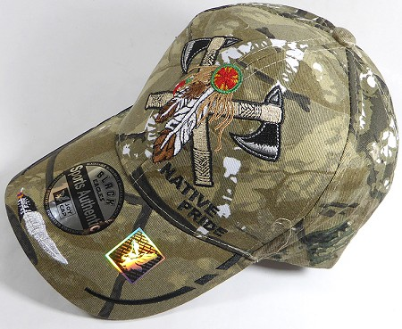 Wholesale Native Pride Baseball Cap - Warrior Axe - H. Camo
