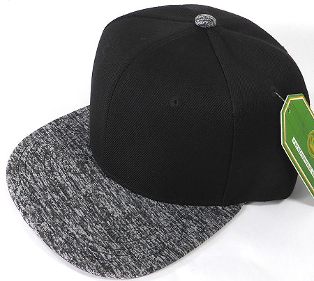 Wholesale Blank Snapback Hats - Charcoal Heather - Black Crown