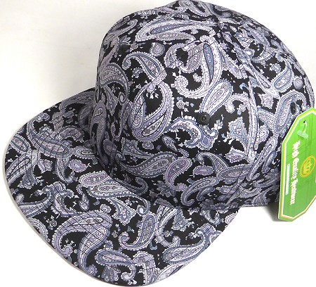 Wholesale Blank Snapback Hats - Black Gray Paisley - Solid