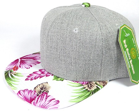 Wholesale Light Grey Denim Snapback Cap - Hawaiian Hibiscus - Pink