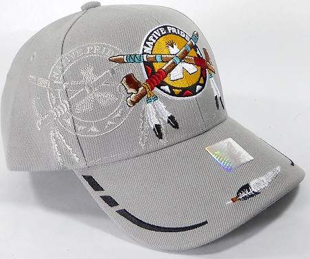 Wholesale Native Pride BallCap - Peace Pipes - Gray