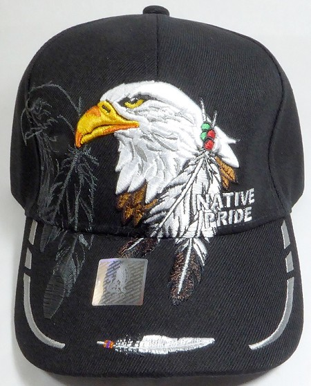 Wholesale Native Pride Baseball Cap - Eagle and Feather - Black