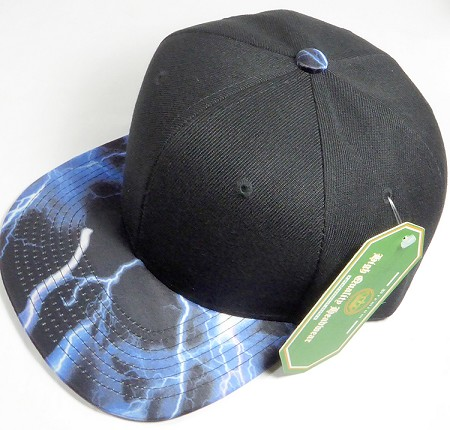 Wholesale Thunder Blank Snapback Caps - Blue - Black Crown