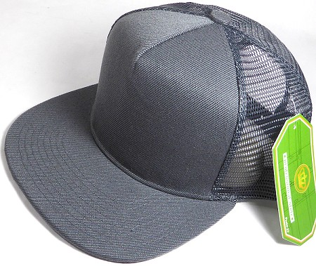 Wholesale Mesh Trucker 5 Panel Snapback Blank Hats - Solid - Dark Gray
