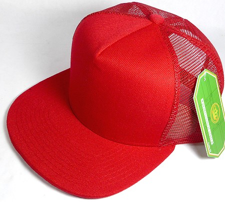 Wholesale Mesh Trucker 5 Panel Snapback Blank Hats - Solid - Red