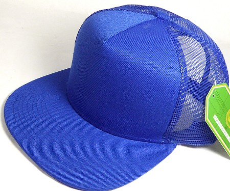 Wholesale Mesh Trucker 5 Panel Snapback Blank Hats - Solid - Royal Blue