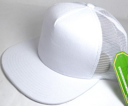 Wholesale Mesh Trucker 5 Panel Snapback Blank Hats - Solid - White