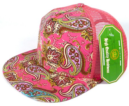Wholesale Mesh Trucker 5 Panel Snapback Hats - Paisley - Salmon