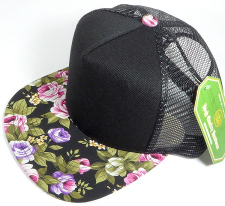 19ddb77c67c3b thumbnail.asp file assets images 2017 Trucker Floral Hawaii wholesale  trucker 5 panel snapback black rose caps 02.jpg maxx 450 maxy 0