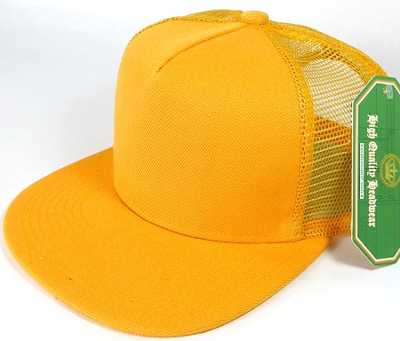Wholesale Mesh Trucker 5 Panel Plain Snapback Hats - Gold Yellow