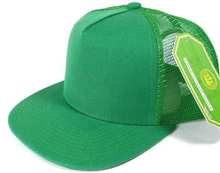 Wholesale Mesh Trucker 5 Panel Plain Snapback Hats - Kelly Green