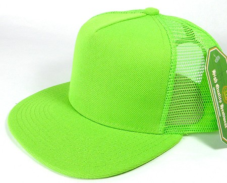 Wholesale Mesh Trucker 5 Panel Plain Snapback Hats - Lime Green