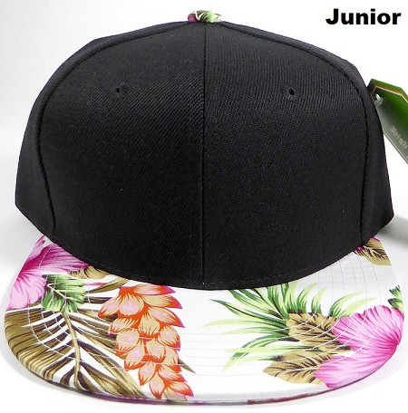 KIDS Jr. Snapback Caps Wholesale - White|Pink Hawaiian Hibiscus - Black Crown